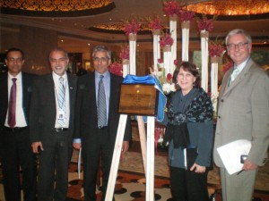 Mr. Faisal Beg, Director of the Liaison Office; Mr. Barj Dhahan; Arvind Gupta, CEO of MITACS ; and Ms Ivy Lerner-Frank, from the Canadian High Commission in New Delhi at the plaque unveiling for the new UBC India Office