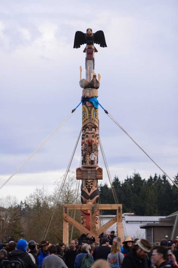 The raising of Reconciliation Pole