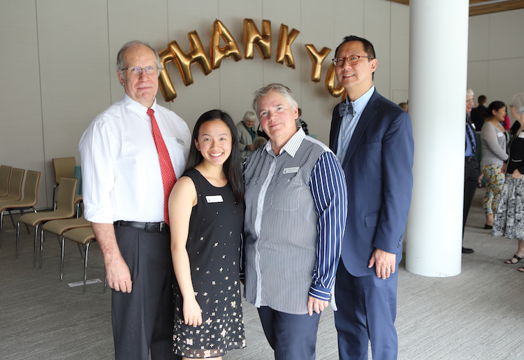 Left to right: Neil Guppy, Co-Chair, Faculty and Staff Giving Advisory Committee, Student Award recipient Tiffany Lee, and Debbie Harvie, Co-Chair, of the Faculty and Staff Giving Advisory Committee, Santa Ono