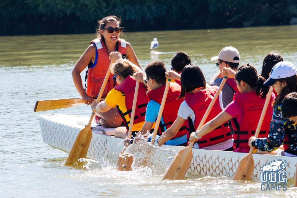 Participants in the UBC Dragon Boating summer camp